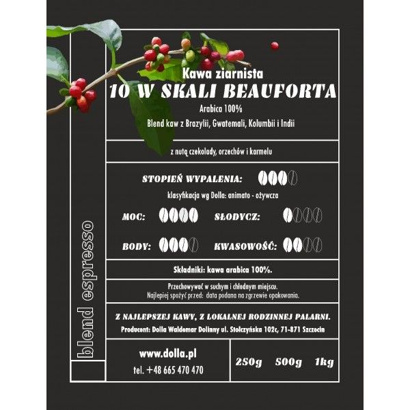 Kawa ziarnista i mielona Dolla -  10 w Skali Beauforta